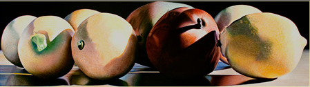 """Lemons, Mango and Pear"" , an oil by Jeff Uffelman. Photo via the Gallery 1261 website"