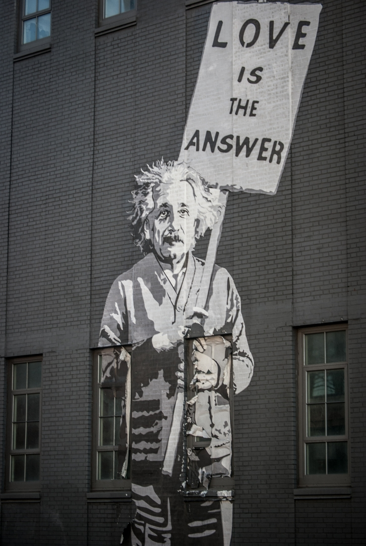 "Mr. Brainwash's Albert Einstein/ ""Love is the Answer"" as seen from the High Line"